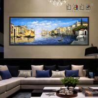 数字油画diy大幅客厅手绘风景填色油彩装饰画风情威尼斯 风情威尼斯 70*200 70x200精选优质亚麻画布 无框