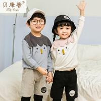 [当当自营]贝康馨春装 18年新款儿童雪人刺绣卫衣
