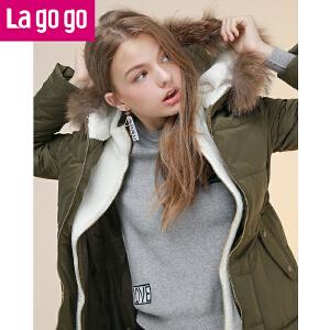 拉谷谷2016冬季新款女装加厚中长款羽绒服外套女