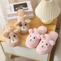 新款棉拖鞋女蝴蝶结秋冬季韩版可爱居家家用情侣室内男地板拖