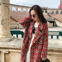 2018秋冬新款流行花色混仿羊毛呢子大衣女中长款宽松复古格子毛呢外套
