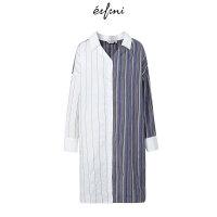 【商场同款】伊芙丽春秋新款裙子看条纹衬衣式连衣裙女1187295711