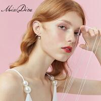 简约百搭冷淡风仿珍珠耳钉几何时尚耳环气质耳饰品