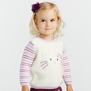 davebella戴维贝拉2018秋新款女童针织衫 休闲套头毛衣DBA8087