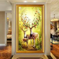 客厅玄关十字绣幸福麋鹿丰收钻绣竖版走廊过道挂画