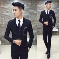 新品18春装新款男士韩版修身绣花短款西服套装潮流青年黑色免烫三