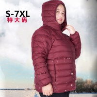 2017新款羽绒服女短款连帽轻薄胖MM200斤加肥加大特大码女装 6X
