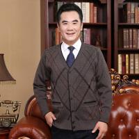 中年男士针织衫开衫中老年人爸爸装秋装加厚毛衣外套大码羊毛衫