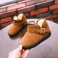 儿童雪地靴冬季加厚棉靴防水男童靴子反绒皮宝宝棉鞋女童短靴保暖休闲鞋