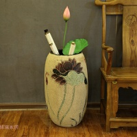 书房装饰品卷画缸字画筒客厅中式干花插花仿真花艺落地摆件大花瓶