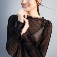 蕾丝打底衫女长袖春秋2018新款透明透视内搭仙气质公主雪纺衫上衣 黑色 预售