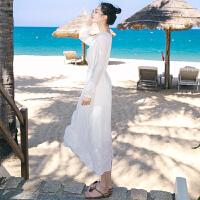20180402210248010夏季新品女装长袖白色雪纺连衣裙波西米亚长裙海边度假沙滩裙 白色 AQA636