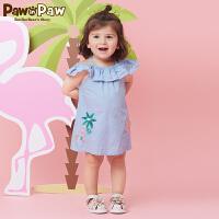 【3件3折 到手价:149】Pawinpaw卡通小熊童装夏款婴幼儿新款女宝宝刺绣连衣裙