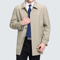 中年夹克男秋冬装爸爸外套翻领大码中老年男士春季中长款休闲风衣