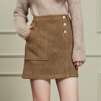 冬装新品 大口袋单排扣半身裙修身包臀裙子女D746418Q20