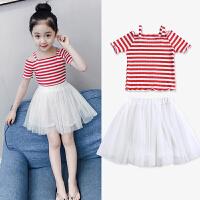 女童夏装套装洋气春装2018新款韩版儿童短袖两件套裙子小女孩童装