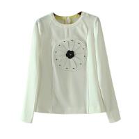 女装秋冬装小清新立体花朵贴布圆领打底衫上衣长袖T恤女