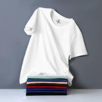 男男装春夏季 男士短袖T恤雾霾蓝宽松大码潮流纯色半袖棉