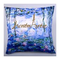 蒙马特大街订制世界名画油画艺术亚麻抱枕靠垫抱枕套梵高星空莫奈睡莲