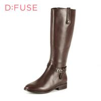 【星期六集团大牌日】迪芙斯(D:FUSE)女靴 蓝带1号小牛皮粗跟尖头时尚长靴 DF54116035