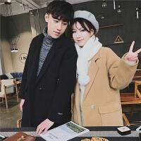 冬季新款加厚情侣风衣韩版宽松情侣装中长款毛呢大衣加棉外套