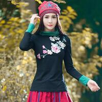 秋装新款 民族风女装上衣 绣花高领打底衫拼接纯棉长袖t恤女