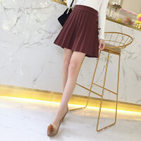 秋冬新款韩版高腰系带针织衫半身裙女显瘦百褶裙短裙子