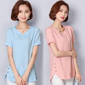棉麻短袖t恤女2018夏季新款宽松韩范大码女装半袖中长款上衣GT666-8557