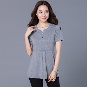 夏季新款胖MM加大码常规款上衣针织宽松时尚T恤JME068-6899