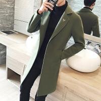 韩版修身风衣青年长款外套秋冬季男士中长款毛呢大衣学生
