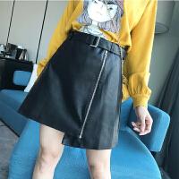 ()冬季韩版黑色高腰时尚百搭PU皮裙显瘦半身裙短裙女