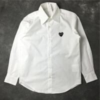 红心衬衫男士秋季刺绣白色爱心纯色长袖衬衣休闲时尚女装情侣款