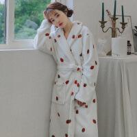 情侣法兰绒睡袍女冬季加厚加长款保暖浴袍秋冬珊瑚绒睡衣男