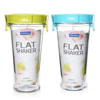 Glasslock玻璃水杯450ml 便携杯带盖果汁杯牛奶杯儿童早餐杯带盖玻璃水杯奶杯子绿 绿色