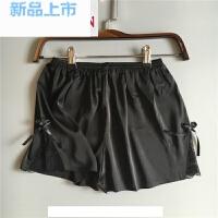 韩国夏装 绸缎 安全裤防蕾丝短裤女打底裤睡裤黑白色