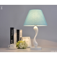 简约现代卧室台灯蓝色布艺台灯地中海创意宿舍卧室床头灯