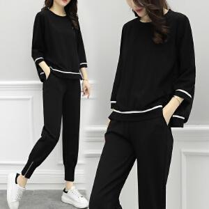 安妮纯欧洲站2019春季新款时尚套装女韩版宽松显瘦卫衣休闲运动两件套潮