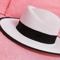小辣椒度假帽子女礼帽标草帽沙滩帽太阳帽旅游防晒遮阳帽潮 可调节