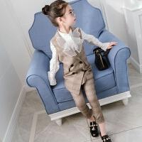 女童春装套装2018新款韩版女孩格子时髦两件套中大童马甲长裤时装