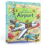 进口英文原版绘本 Usborne Look Inside An Airport 看里面系列 纸板翻翻书 机场百科 科普