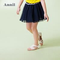 【3件3折:50.7】安奈儿童装女童甜美网纱短裙夏装新款