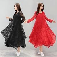 蕾丝连衣裙2018春装新款民族风女装宽松大码长袖V领中国风裙子