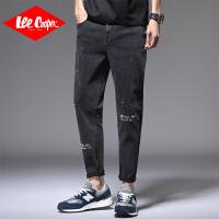 Lee Cooper春季男士牛仔裤宽松直筒休闲裤青年韩版小脚裤