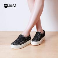 jm快乐玛丽春季提花平底时尚黑色套脚厚底舒适乐福鞋女鞋子82062W