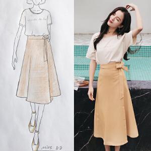 安妮纯小清新连衣裙女夏装2019新款俏皮小心机套装裙一片式半身裙两件套