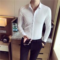 新款秋季男士长袖衬衫英伦修身白色寸衣青年韩版休闲刺绣西装打底