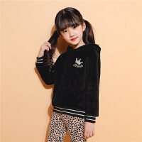 冬季新款2018女童毛衣儿童针织衫套头连帽外套韩版长袖休闲洋气