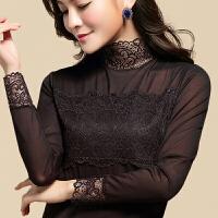 2018新款半高领蕾丝打底衫春装黑色立领性感网纱显瘦蕾丝衫长袖纱衣女装潮