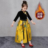女童旗袍秋冬款儿童唐装汉服连衣裙小女孩复古中国风主持演出礼服