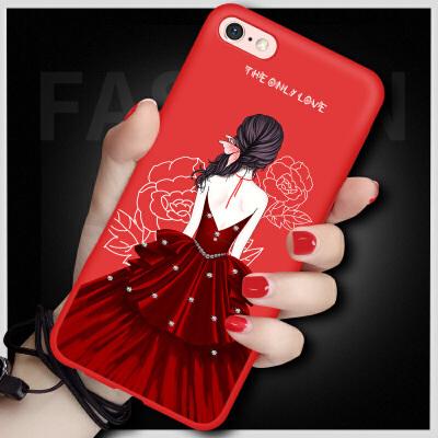 苹果6plus手机壳iphone6保护套女款挂绳防摔6s卡通可爱硅胶韩国六